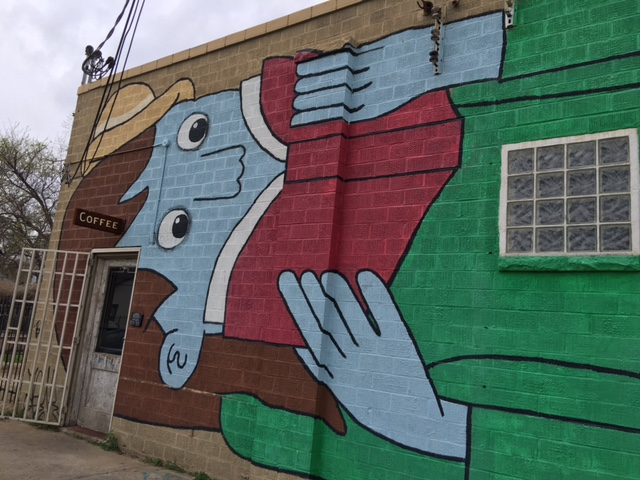 Mural outside Farewell Books in Austin, TX.